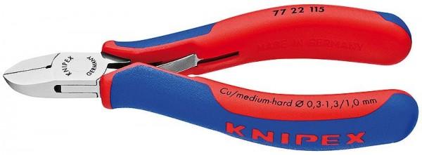 Knipex Elektronik-Seitenschneider spiegelpoliert mit Mehrkomponenten-Hüllen 115 mm - 77 22 115 SB