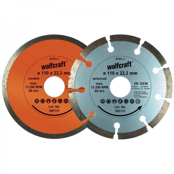 Wolfcraft Diamant Trennscheiben 2 teiliges Set, segmentiert und geschlossen 110 mm, 22,23 mm