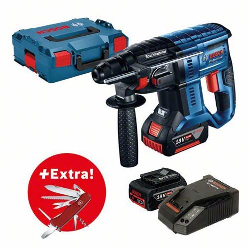Bosch Professional Akku-Bohrhammer GBH 18V-20, 2 x 5,0 Ah-Akku, Klappmesser Victorinox in Schachtel - 0615990K59