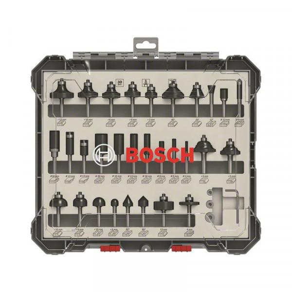 Bosch Professional Kit de 30 fraises mixtes à queue de 6mm - 2607017474