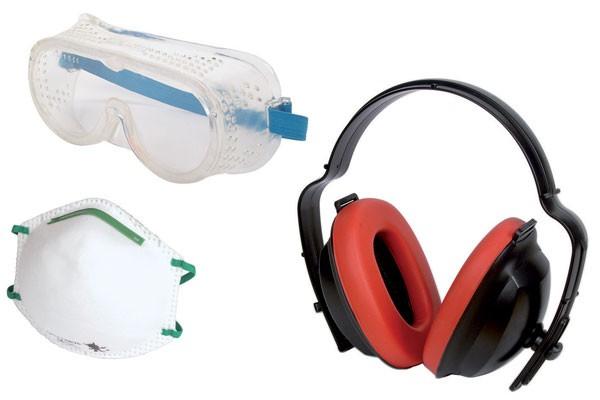 Wolfcraft Arbeitsschutz-Set - Atemschutzmaske FFP1, Schutzbrille, Gehörschutz - 4871000