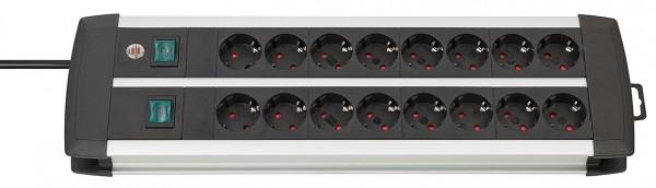 Brennenstuhl Premium-Alu-Line Technik Steckdosenleiste 16-fach Duo schwarz 3m H05VV-F 3G1,5 8-fach schaltbare Steckdosen