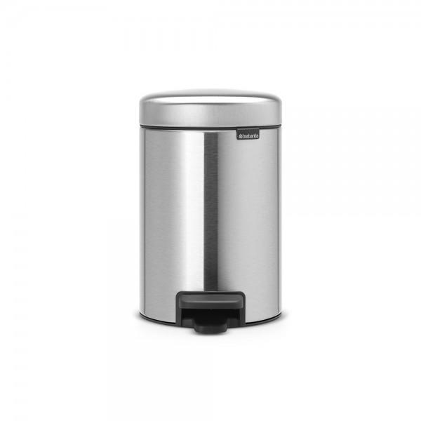 Brabantia Poubelle à Pédale newIcon, 3 litres, Fermeture Silencieuse, Seau en Plastique - Matt Steel