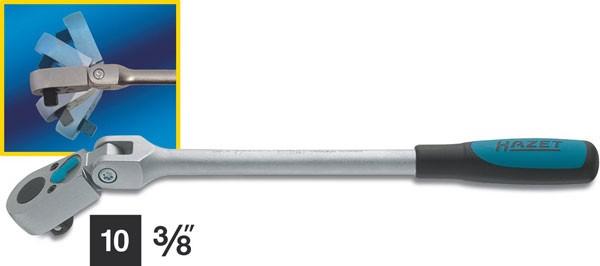 Hazet Umschaltknarre mit Gelenk - Vierkant massiv 10 mm (3/8 Zoll) - Gesamtlänge: 276 mm - 8816G