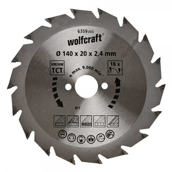 Wolfcraft Lame de scie circulaire CT, 140x20x2.4 mm, 18 dents