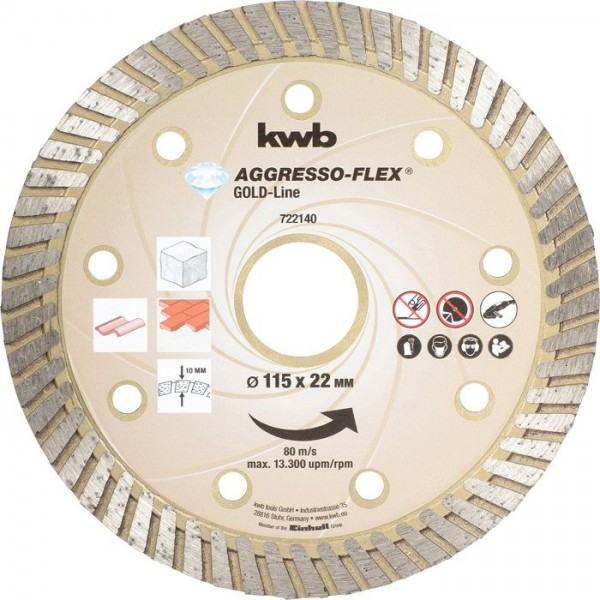 KWB AGGRESSO-FLEX® Gold-Line DIAMANT-doorslijpschijven, ø 115 mm - 722140