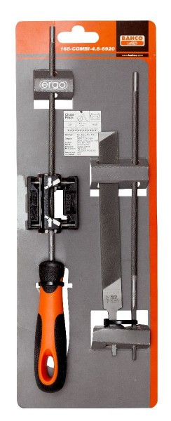 Bahco Jeu de limes de scie à chaîne, manche ergo, 200mm ø 4,8mm, guide d'affûtage - 168-combi-4.8-6920