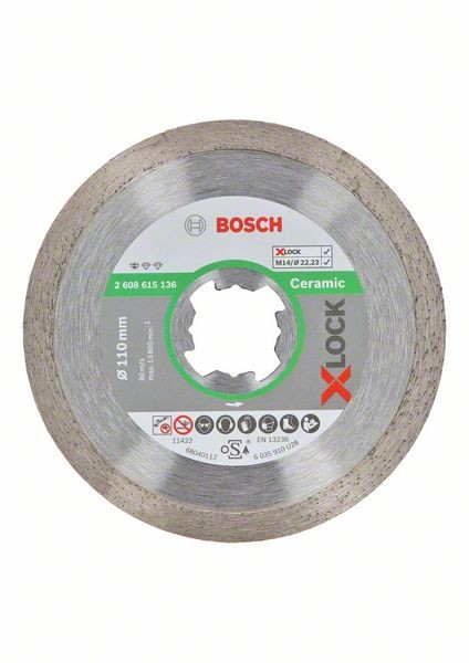 Bosch Disco diamantato X-LOCK Standard for Ceramic 110x22,23x1,6x7,5 mm - 2608615136