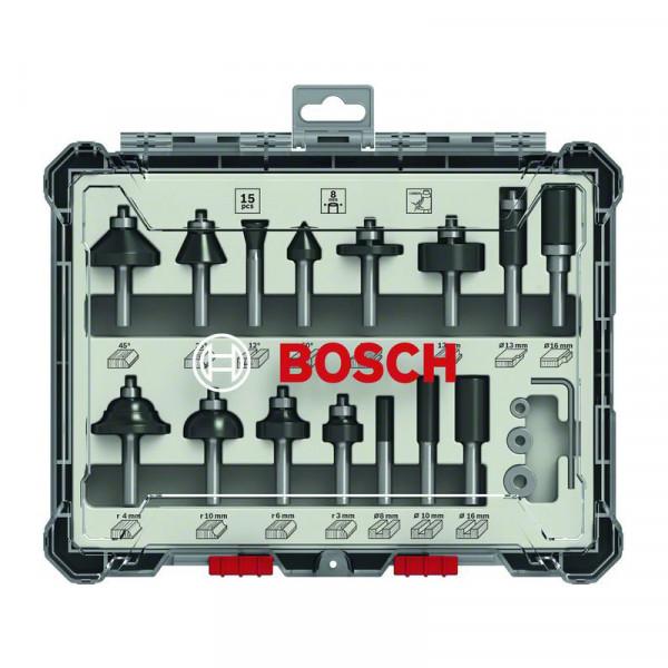 """Bosch Kit de 15 fraises mixtes à queue de 1/4"""" - 2607017473"""