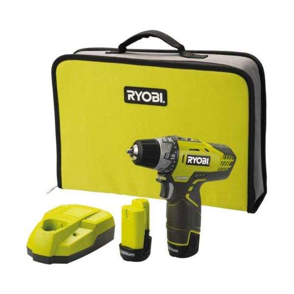 Ryobi R12DD4-L13S 2-stand Accu Boor-/schroefmachine set incl. Li-Ion 2 x Accu, Snellader & Transporttas - 5133001802