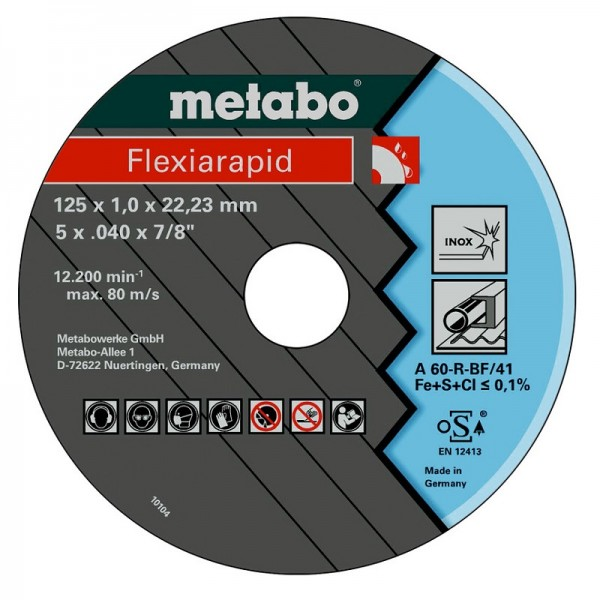 Metabo 10 Flexiarapid 125x1,0x22,23mm, Inox - 616099000