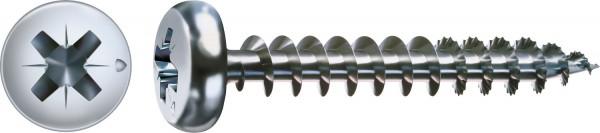 Spax Universalschraube, 3 x 25 mm, 1000 Stück, Vollgewinde, Halbrundkopf, Kreuzschlitz Z1, S-Spitze, WIROX - 0231010300255