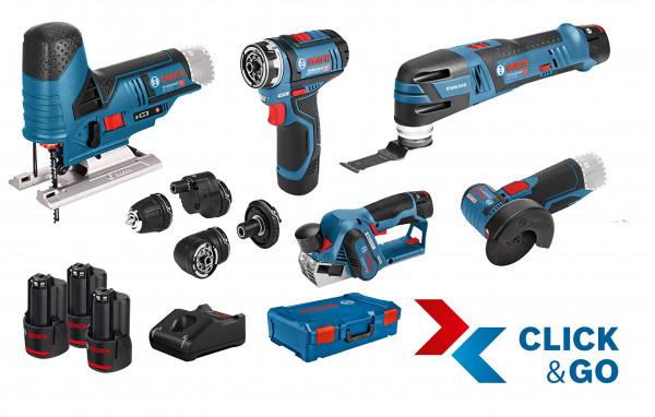 Bosch Professional 5er-Werkzeug-Set 12V: GSR (FC) + GOP + GHO + GWS + GST + GBA (2x 2,0 Ah + 1x 3,0 Ah) + GAL + XL-BOXX - 0615A0017D