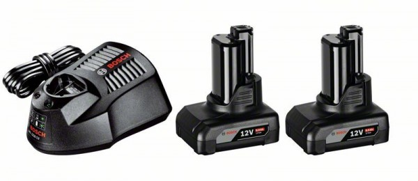 Bosch Professional Akku Starter-Set: 2 x GBA 12 Volt, 6,0 Ah und GAL 1230 CV