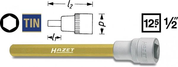 Hazet Schraubendreher-Steckschlüsseleinsatz - Vierkant hohl 12,5 mm (1/2 Zoll) - Innen-Sechskant Profil - Schlüsselweite: 10 - Gesamtlänge: 141 mm - 986LG-10
