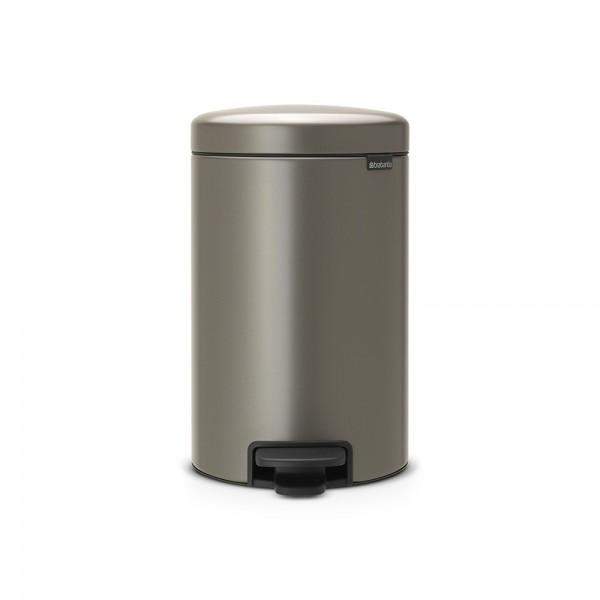 Brabantia Poubelle à Pédale newIcon, 12 litres, Fermeture Silencieuse, Seau en Plastique - Platinum