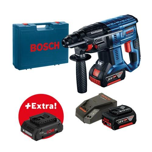 Bosch Professional Akku-Bohrhammer mit SDS-plus GBH 18V-20, mit 2 x 5,0 Ah Akku, ProCORE18V 4,0 Ah - 0615990K80