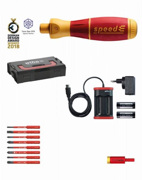 Wiha Giravite da elettricista set 2 speedE 13 pz. assortiti in L-Boxx Mini con slimBit, adattatore easyTorque, batterie e caricabatterie UE (41912)