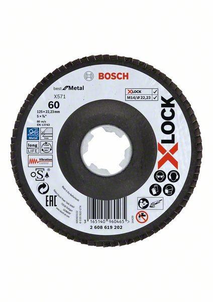 Bosch Dischi lamellari X-LOCK, versione angolata, piastra fibrata Ø125 mm, G 60, X571, Best for Metal, 1 pz. - 2608619202