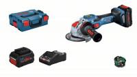 Bosch Smerigliatrice Angolare a batteria BITURBO, X-LOCK GWX 18V, 2 x batteria 8Ah, Caricabatteria - 06019H6501