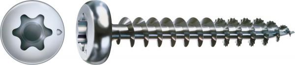 Spax Universalschraube, 3 x 16 mm, 200 Stück, Vollgewinde, Halbrundkopf, T-STAR plus T10, S-Spitze, WIROX - 0201010300163