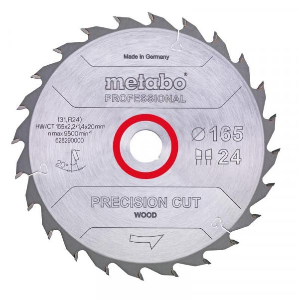 Metabo Hoja de sierra circular HW/CT 160 x 20 x 2,2/1,4, nº de dientes 24, diente intercambiable, ángulo de desprendimiento de virutas 20° (628031000)