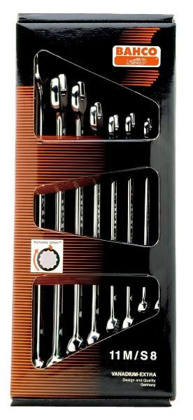 Bahco Jeu de clés mixtes plates (longues) 8 pcs en carton, 8-19mm - 11m/s8