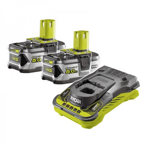 Ryobi Caricabatterie Super-Rapido e batterie 2x18V/5,0Ah Lithium - RC18150-250