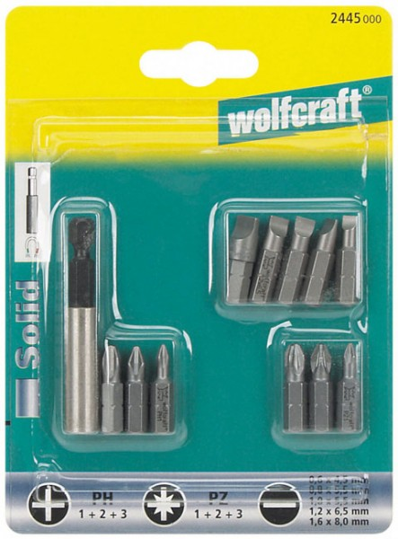 Wolfcraft 1 set de puntas: 5 ranura, 3 Phillips PH 1, 3 Pozidriv PZ 1 y 1 portapunta - 2445000