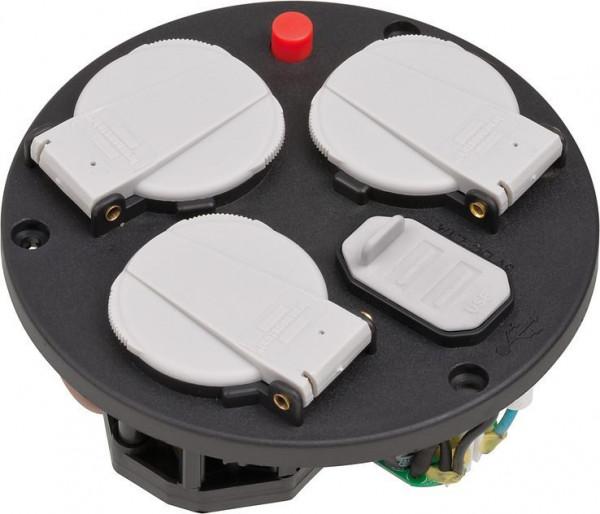 Brennenstuhl Steckdoseneinsatz für Indoor-Kabeltrommeln, 3x Schutzkontakt-Steckdosen mit selbstschließenden Deckeln - 1115260