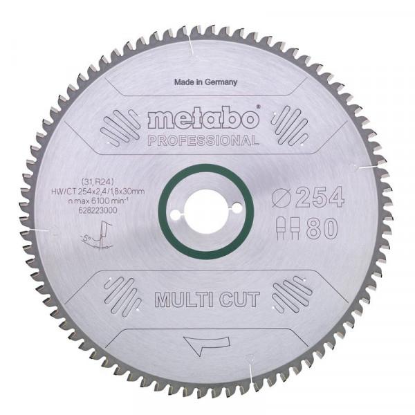 Metabo Hoja de sierra circular HW/CT 250 x 30 x 2,8/2,0, nº de dientes 80, diente plano-trapezoidal, ángulo de desprendimiento de virutas neg. de 5° (628223000)