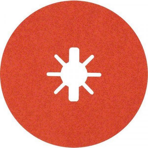 Bosch Professional EXPERT R782 Prisma Ceramic Fiberscheibe, X-LOCK, 125mm, 22,23mm, G 60, 5-tlg.. Für Winkelschleifer mit X-LOCK und mit Spannmutter - 2608621809