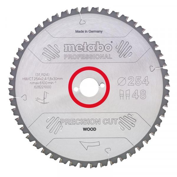 Metabo Hoja de sierra circular HW/CT 250 x 30 x 2,8/1,8, nº de dientes 34, diente intercambiable, ángulo de desprendimiento de virutas 15° (628045000)