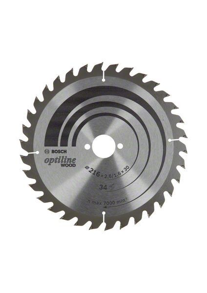 Bosch Lama per sega circolare Optiline Wood, 216x30x2,6/1,6, 34 denti - 2608838409