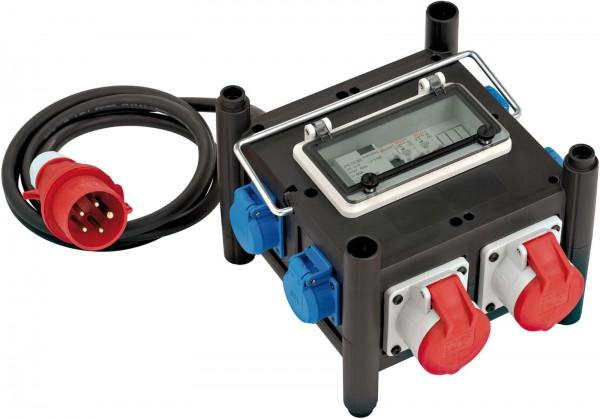 Brennenstuhl Gummi-Stromverteiler mit zertifiziertem Sicherungsautomaten, 2x CEE 400V/16A, 5x 230V/16A - 1153690200