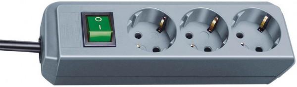 Brennenstuhl Prolongateur multiprise Eco-Line avec interrupteur, câble 1,5 mm² Ø , 3 prises Argent-gris