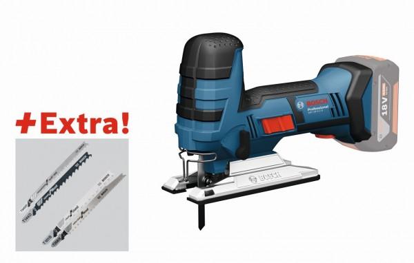 Bosch Professional Akku-Stichsäge GST 18 V-LI S, 5-tlg. Stichsägeblatt-Set, 2 x 5,0-Ah-Akku, L-BOXX - 06015A5106