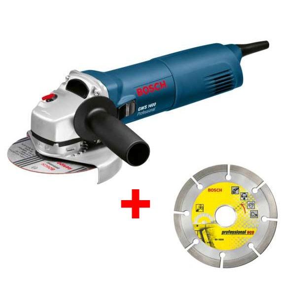 Bosch GWS 1400 Haakse slijpmachine + DIA-doorslijpschijf + Opbergkoffer - 0601824900