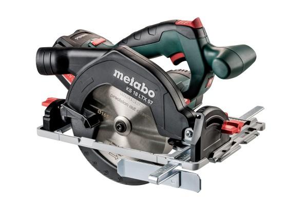 Metabo KS 18 LTX 57 Akku-Handkreissäge 2x Li-Power Akkupacks (18 V/5,2 Ah) ASC 30-36, Metaloc - 601857700