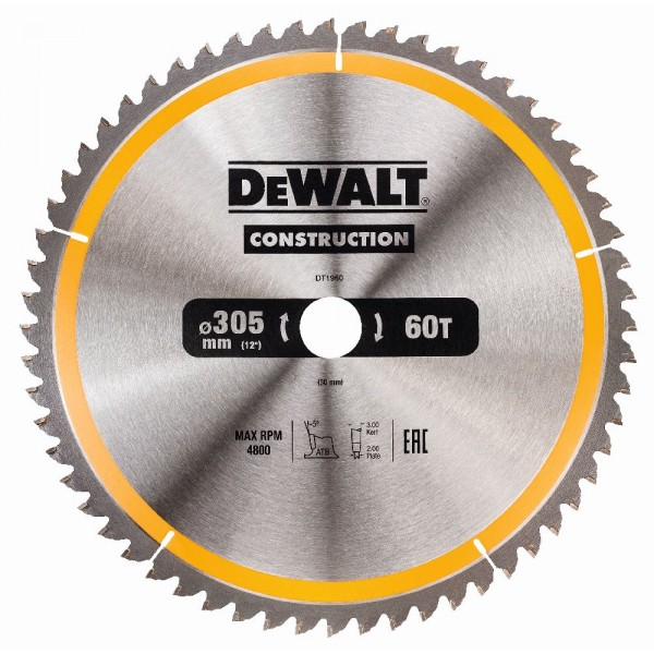DeWALT Lama per sega circolare, 305/30 mm, 60 denti - DT1960-QZ