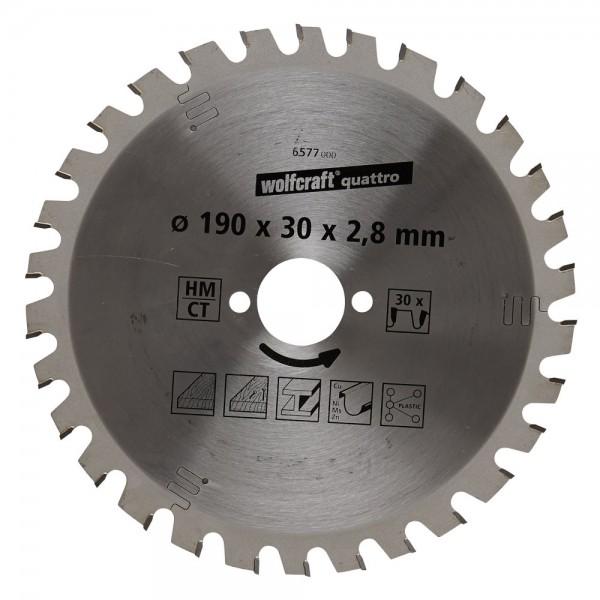 Wolfcraft 1 cirkelzaagblad, 190x30x2.8 mm, 30 tanden - 6577000