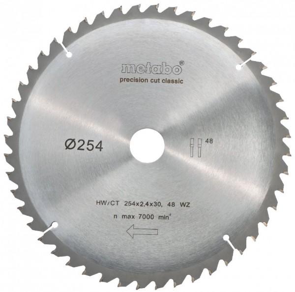 "Metabo Kreissägeblatt HW/CT 254 x 30 x 2,4/1,8, Zähnezahl 48, Wechselzahn, Spanwinkel 5° neg., ""Precision cut classic"""