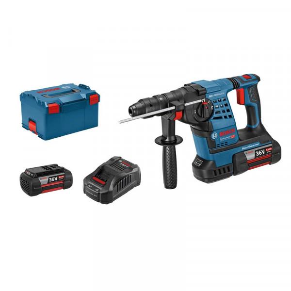 Bosch Professional Akku-Bohrhammer mit SDS plus GBH 36 V-LI Plus, mit 2 x 6,0 Ah Li-Ion Akku, L-BOXX - 061190600B