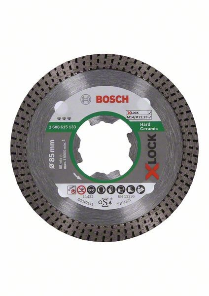 Bosch Disco diamantato X-LOCK Best for Hard Ceramic 85x22,23x1,4x7 mm - 2608615133
