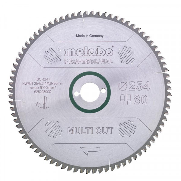Metabo Hoja de sierra circular HW/CT 305 x 30 x 2,8/2,0, nº de dientes 96, diente plano-trapezoidal, ángulo de desprendimiento de virutas neg. de 5° (628091000)