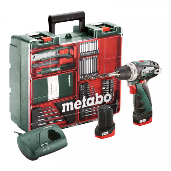 Metabo Akku-Bohrschrauber PowerMaxx BS Basic Set, Mobile Werkstatt, Kunststoffkoffer, 10.8V 2x2Ah Li-Ion + LC 40 - 600080880