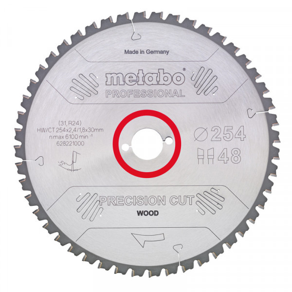 Metabo Hoja de sierra circular HW/CT 315 x 30 x 2,8/1,8, nº de dientes 48, diente intercambiable, ángulo de desprendimiento de virutas 0° (628057000)