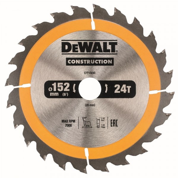 DeWALT Lama per seghe circolari portatili, 152/20 mm, 24 denti - DT1930-QZ