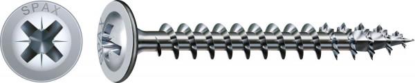 Spax Universalschraube, 4,5 x 50 mm, 1000 Stück, Vollgewinde, Rückwandkopf, Kreuzschlitz Z2, 4CUT, WIROX - 0281010450502