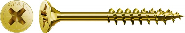 Spax Universalschraube, 5 x 80 mm, 100 Stück, Teilgewinde, Senkkopf, Kreuzschlitz Z2, 4CUT, YELLOX - 0291020500803